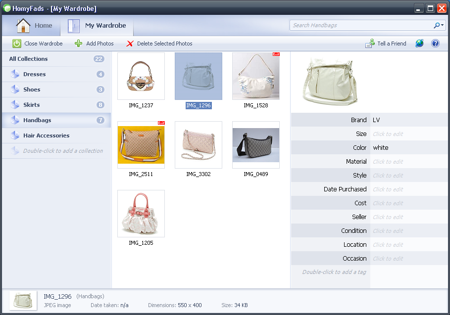 Screenshot #1 of HomyFads Wardrobe Manager / Windows